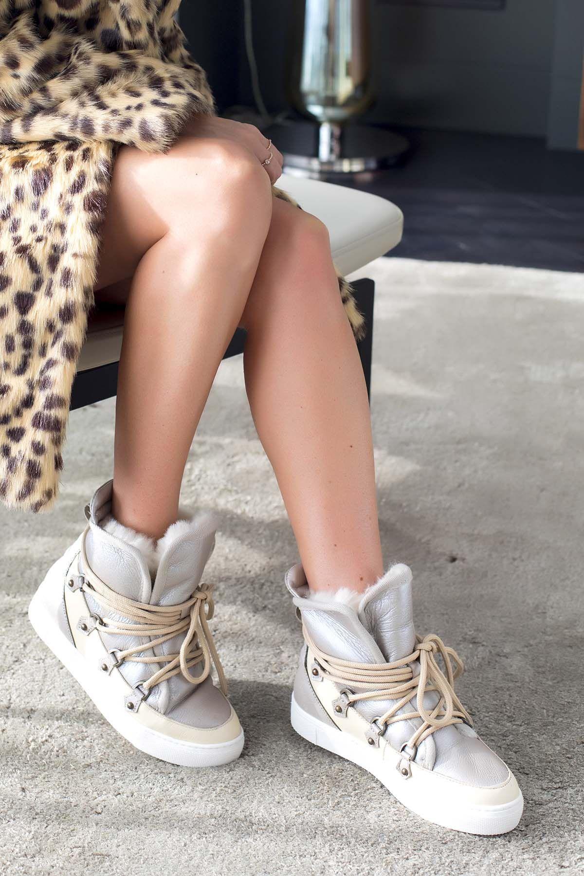 Alba Hakiki Deri İçi Kürklü Bayan Sneaker Bot A157612 Bej