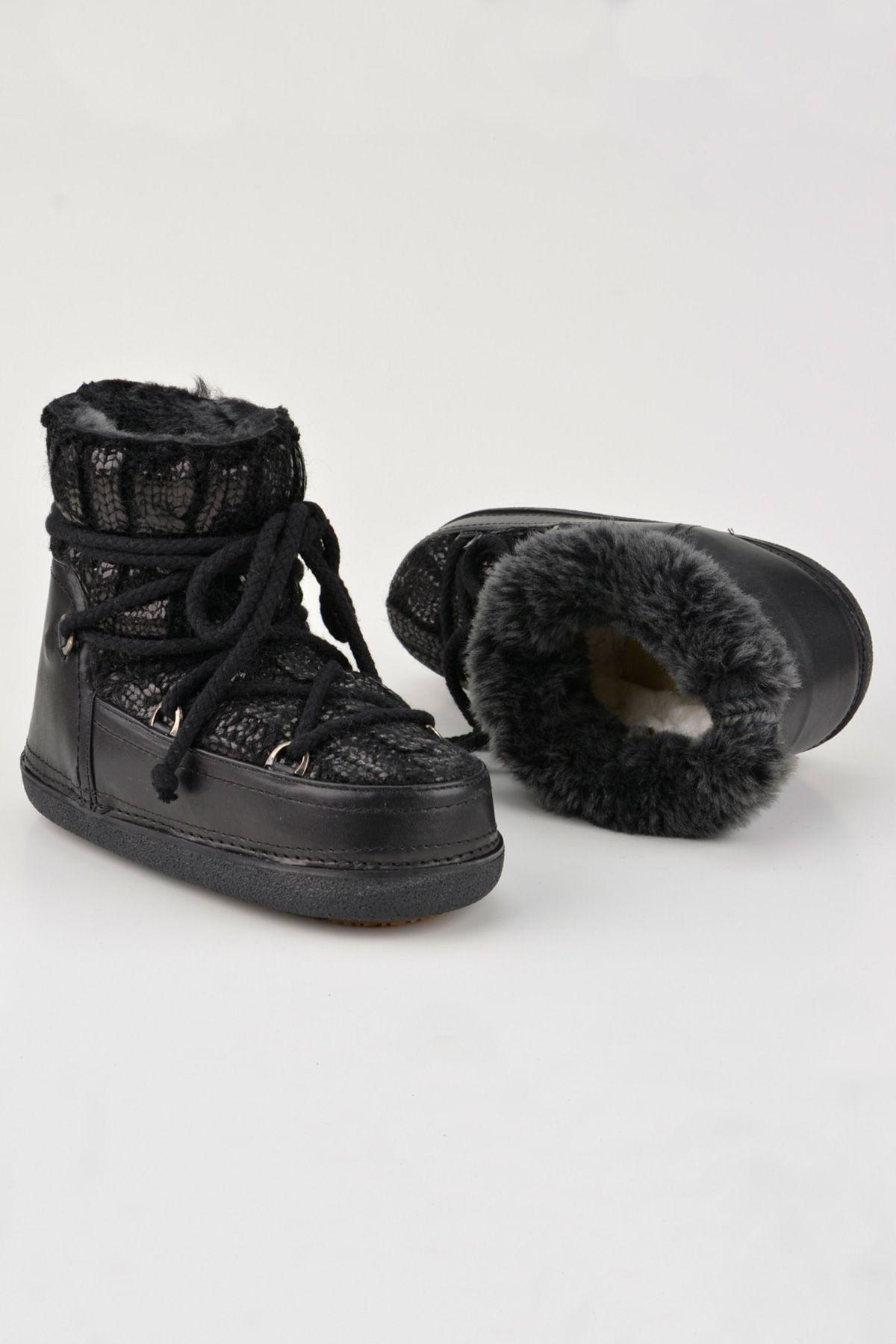 BYMN Hakiki Kürklü Örgü Desen Bayan Kar Botu B351006 Siyah