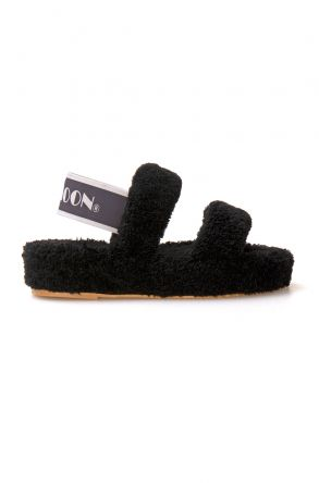 Cool Moon Curly Sheepskin Women's Slippers 213002 Black