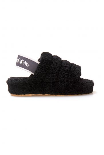 Cool Moon Curly Sheepskin Women's Slippers 212502 Black