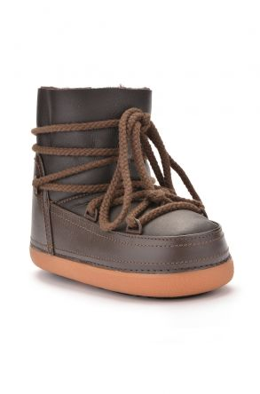 Cool Moon Genuine Sheepskin Women Snow Boots 251001 Brown