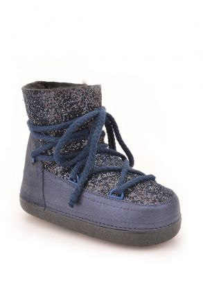 Ботинки-Снегоходы Из Натурального Меха С Пайетками 251004 Темно-синий