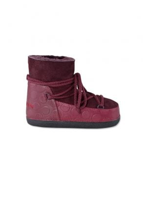 Cool Moon Genuine Leather & Shearling Women's Snow Boots 251033 Claret red