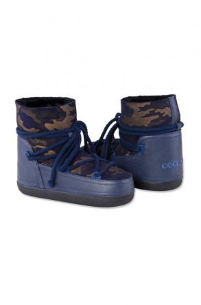 Cool Moon Genuine Leather & Shearling Women's Snowboots 251039 Navy blue
