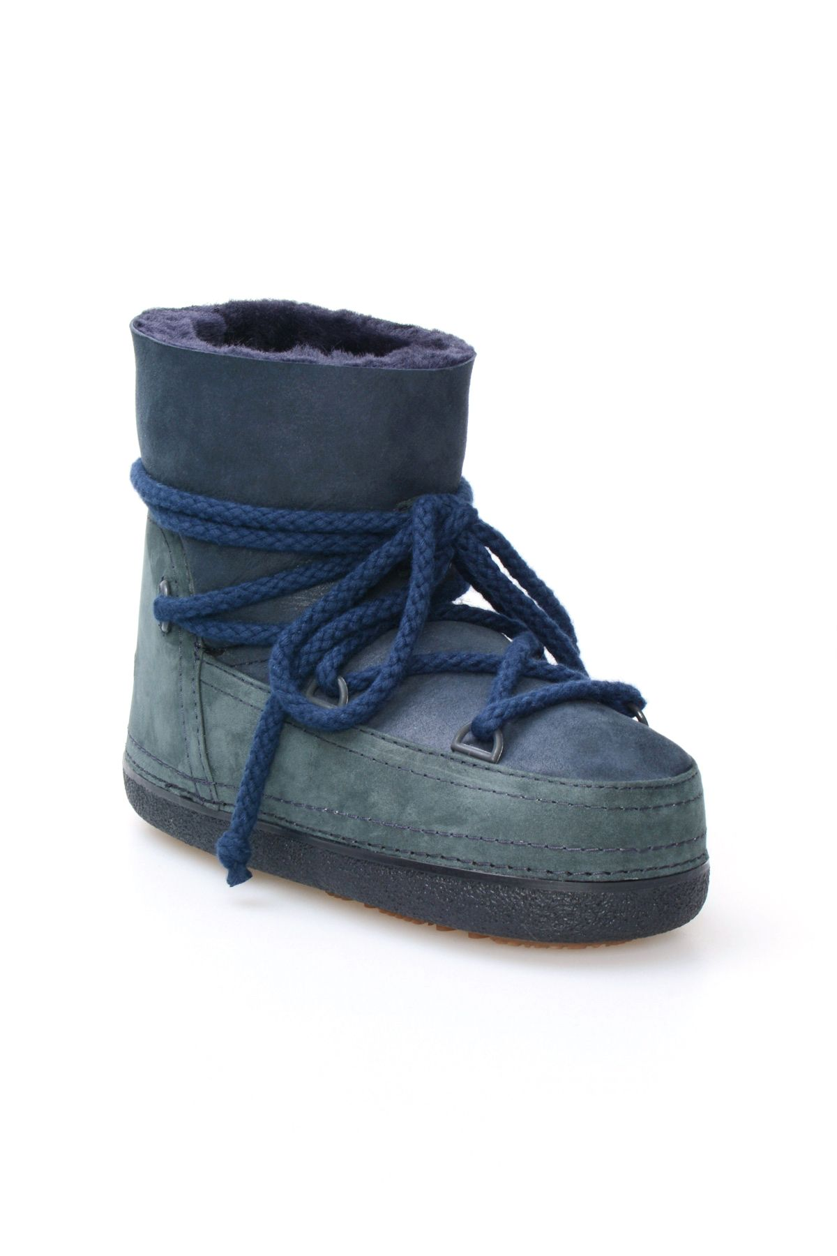 Cool Moon Genuine Leather & Shearling Women's Snowboots 251040 Navy blue