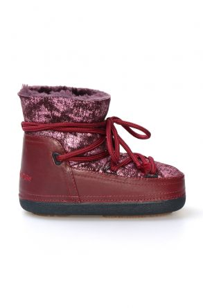 Cool Moon Women's Sheepskin Snow Boots 251077 Claret red