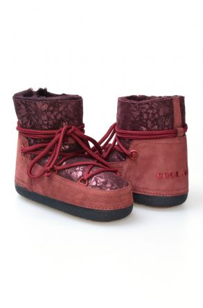Cool Moon Women's Sheepskin Snow Boots 251091 Claret red