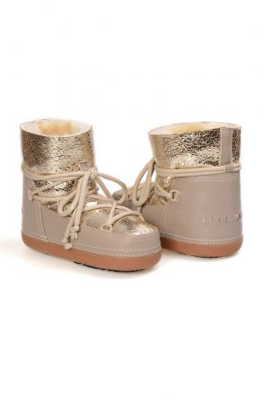 Cool Moon Genuine Leather Sheepskin Lined Women's Snow Boots 251100 Golden