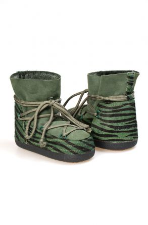 Cool Moon Genuine Leather Sheepskin Lined Women's Snow Boots 251101 Green