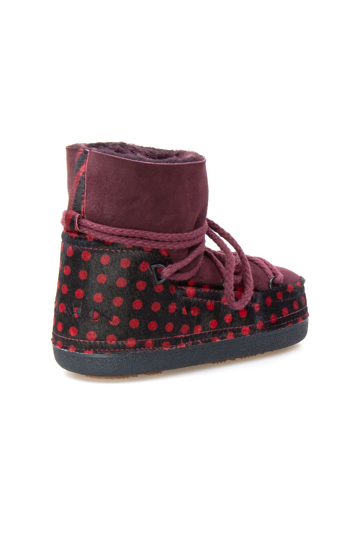 Cool Moon Genuine Leather Sheepskin Lined Women's Snow Boots  251103 Claret red