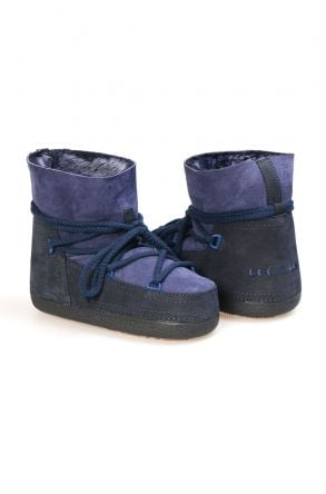 Cool Moon Genuine Leather Sheepskin Lined Women's Snow Boots  251104 Navy blue