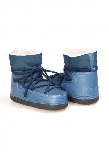 Cool Moon Hakiki Deri İçi Kürklü Bayan Kar Botu 251105 Mavi