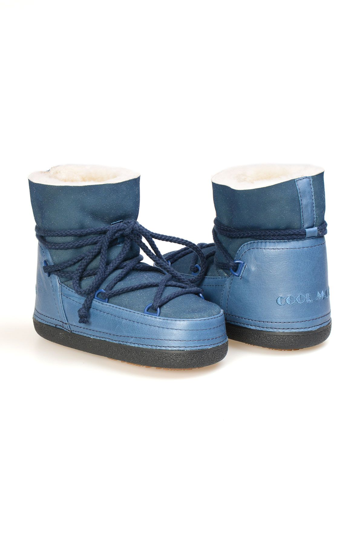 Cool Moon Genuine Leather Sheepskin Lined Women's Snow Boots 251105 Blue
