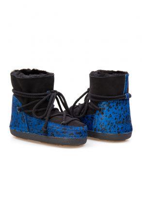 Cool Moon Genuine Sheepskin Women Snow Boots 251108 Blue