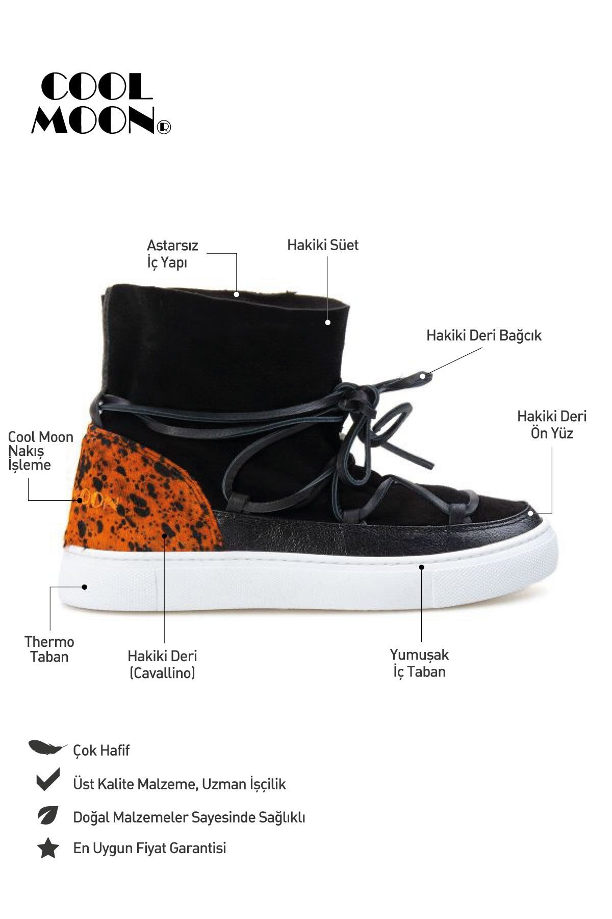 Cool Moon Genuine Leather Women Sneaker CM1014 Black