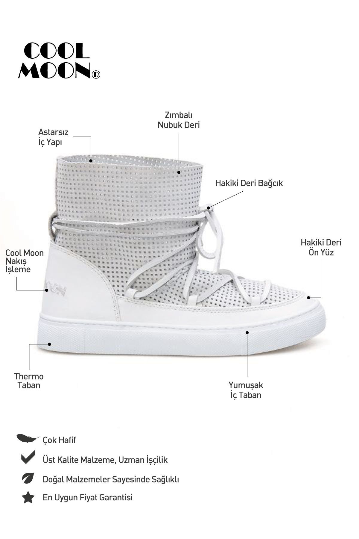 Cool Moon Genuine Leather Women's Summer Boots CM1000 White