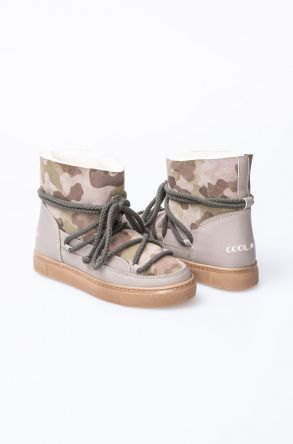 Cool Moon Hakiki Deri Kamuflaj Desenli Kürklü Sneaker 355032 Bej