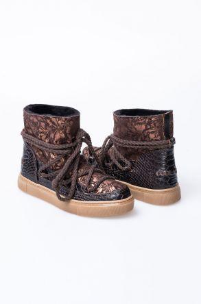 Cool Moon Hakiki Deri Kroko Desen İçi Kürklü Sneaker 355030 Koyu Kahve