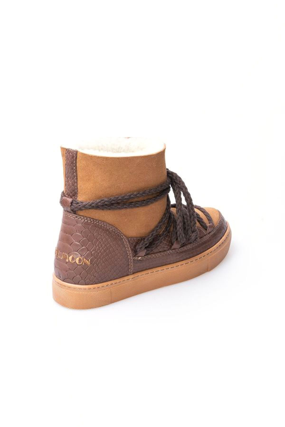 Cool Moon Genuine Sheepskin Croco Print Sneaker 355031 Brown