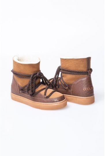 Cool Moon Hakiki Deri Kroko Desen İçi Kürklü Sneaker 355031 Kahve
