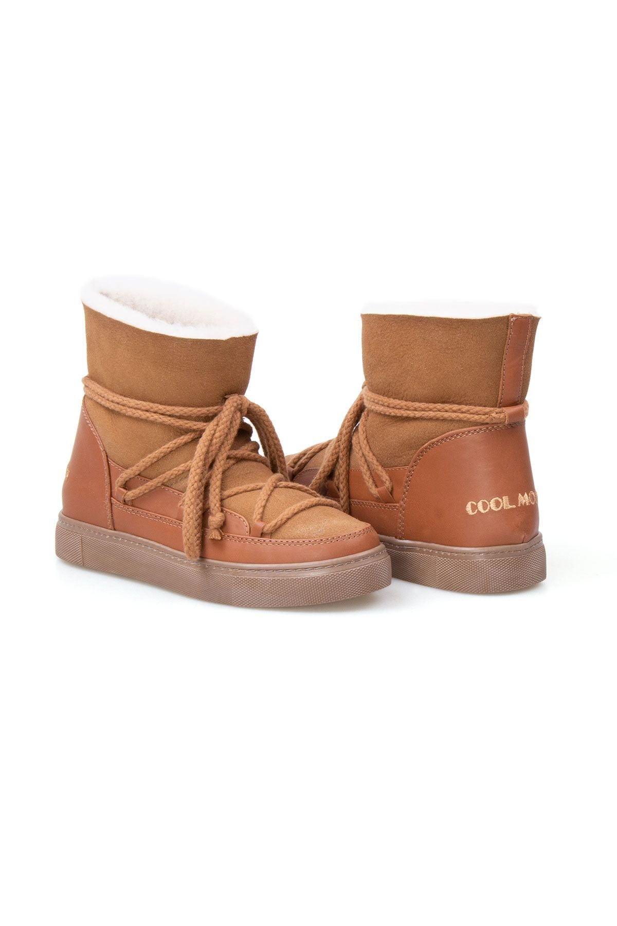 Cool Moon Genuine Suede Shearling Lined Women's Sneaker 355050 Ginger