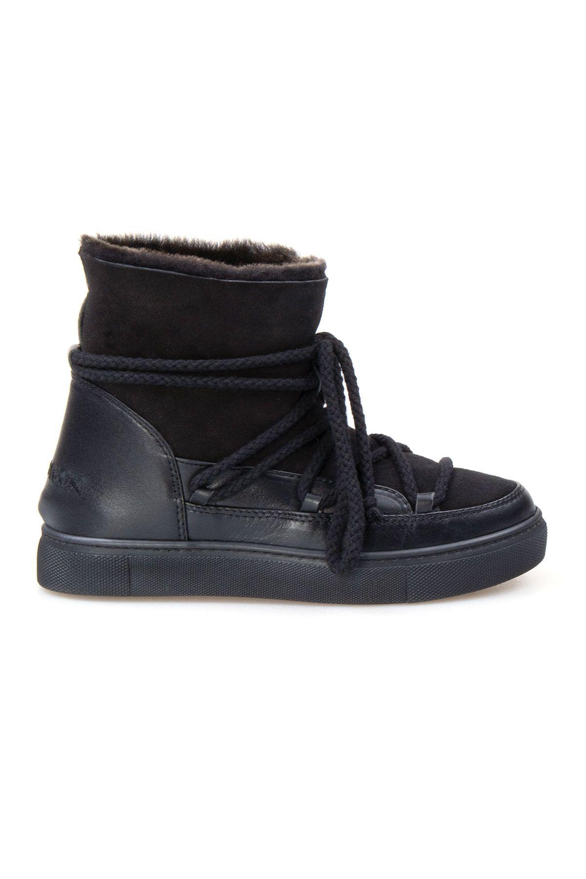 Cool Moon Hakiki İçi Kürk Bayan Sneaker 355050 Siyah