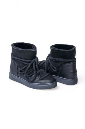 Cool Moon Hakiki Kürk Bağcıklı Bayan Sneaker 355029 Siyah