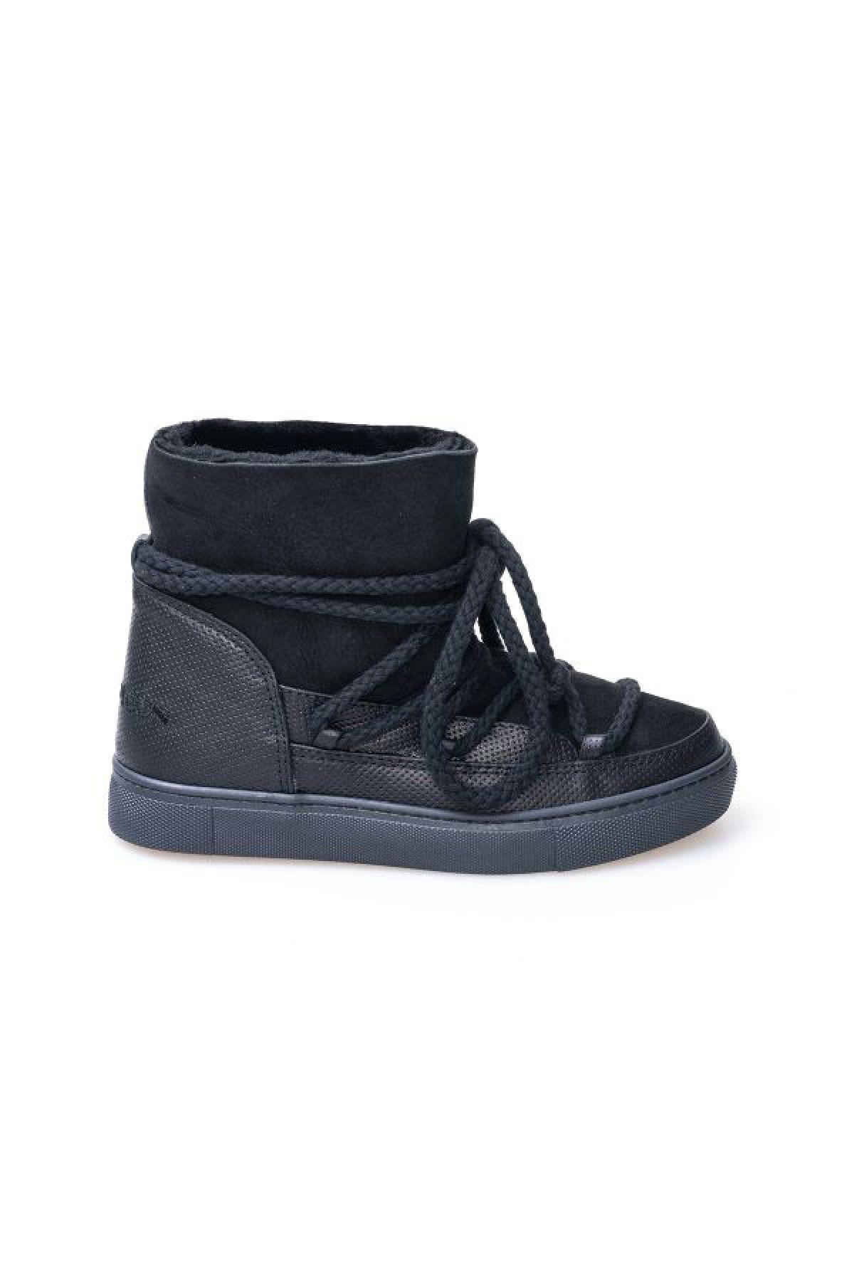 Cool Moon Genuine Leather & Sheepskin Women's Lace-up Sneaker 355029 Black