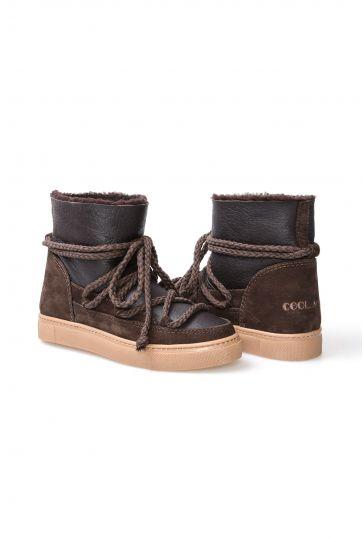 Cool Moon Hakiki Kürk Bayan Sneaker 355025 Kahve
