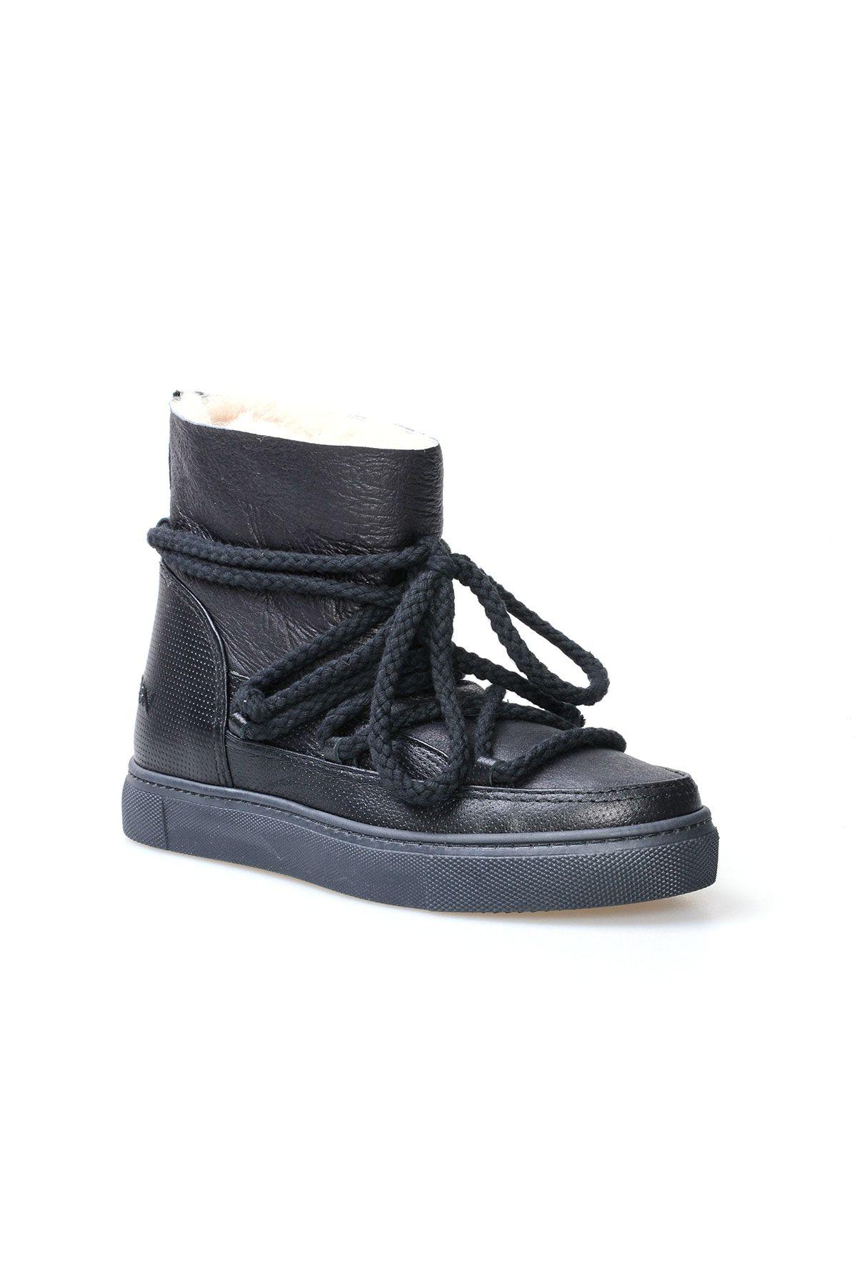 Cool Moon Hakiki Kürk Bayan Sneaker 355026 Siyah