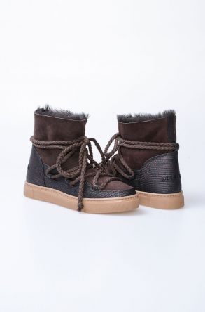 Cool Moon Hakiki Kürk Bayan Sneaker 355027 Kahve