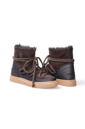 Cool Moon Genuine Sheepskin Women Sneaker  355027 Brown