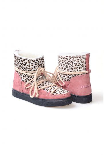 Cool Moon Hakiki Kürk Bayan Sneaker 355028 Pembe