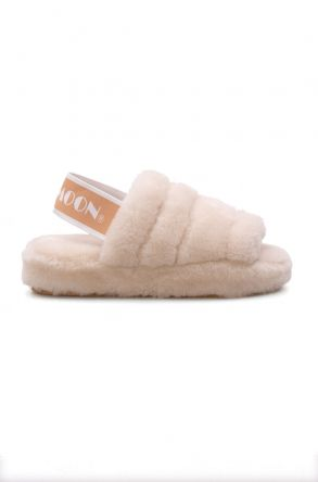 Cool Moon Genuine Sheepskin Women's Slippers 212501 Beige