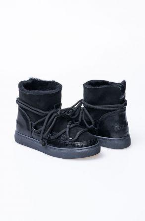 Cool Moon Hakiki Kürk Rugan Bağcıklı Bayan Sneaker 355129 Siyah