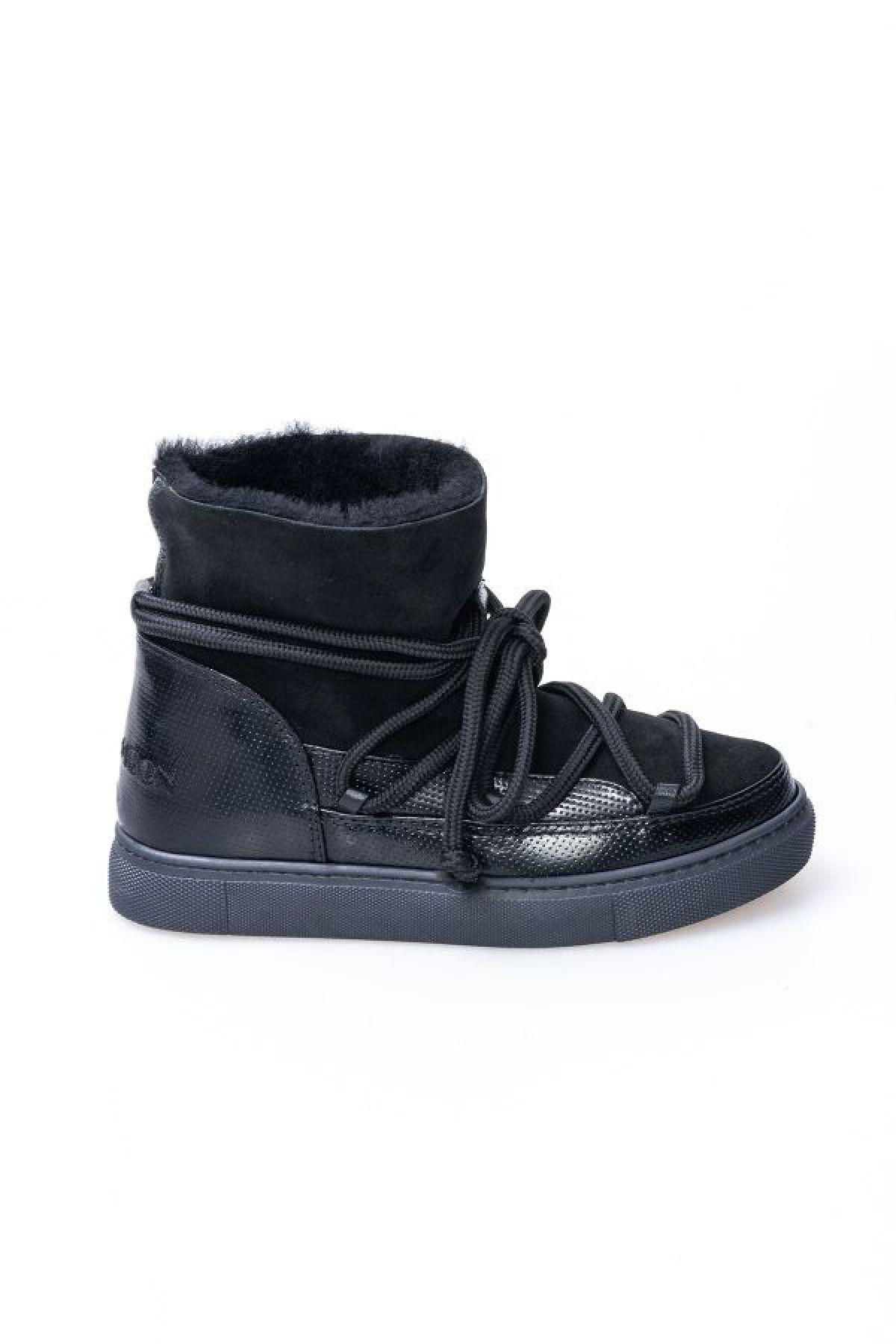 Cool Moon Genuine Patent Leather & Sheepskin Women's Lace-up Sneaker 355129 Black