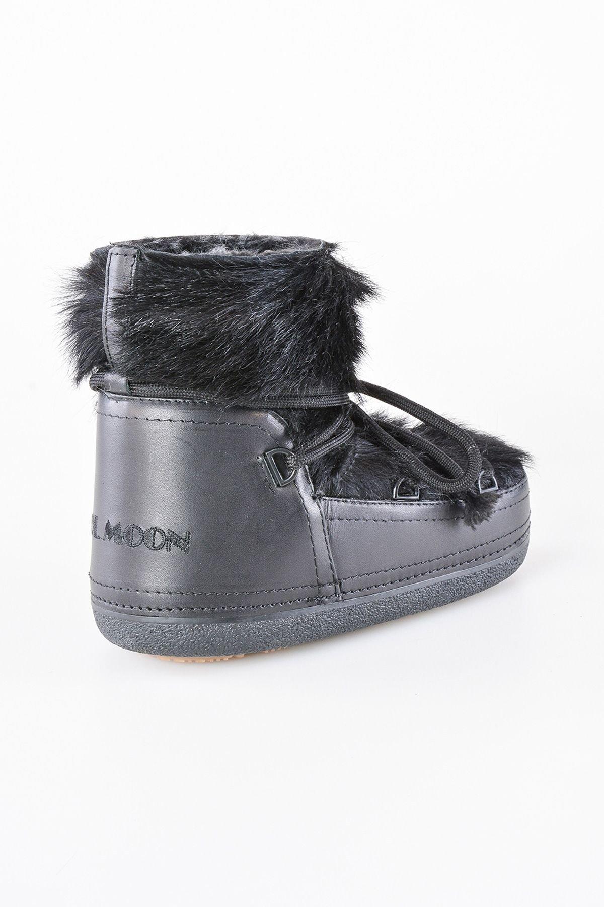 Cool Moon Hakiki Kürk Toscana Tüylü Bayan Kar Botu 351005 Siyah