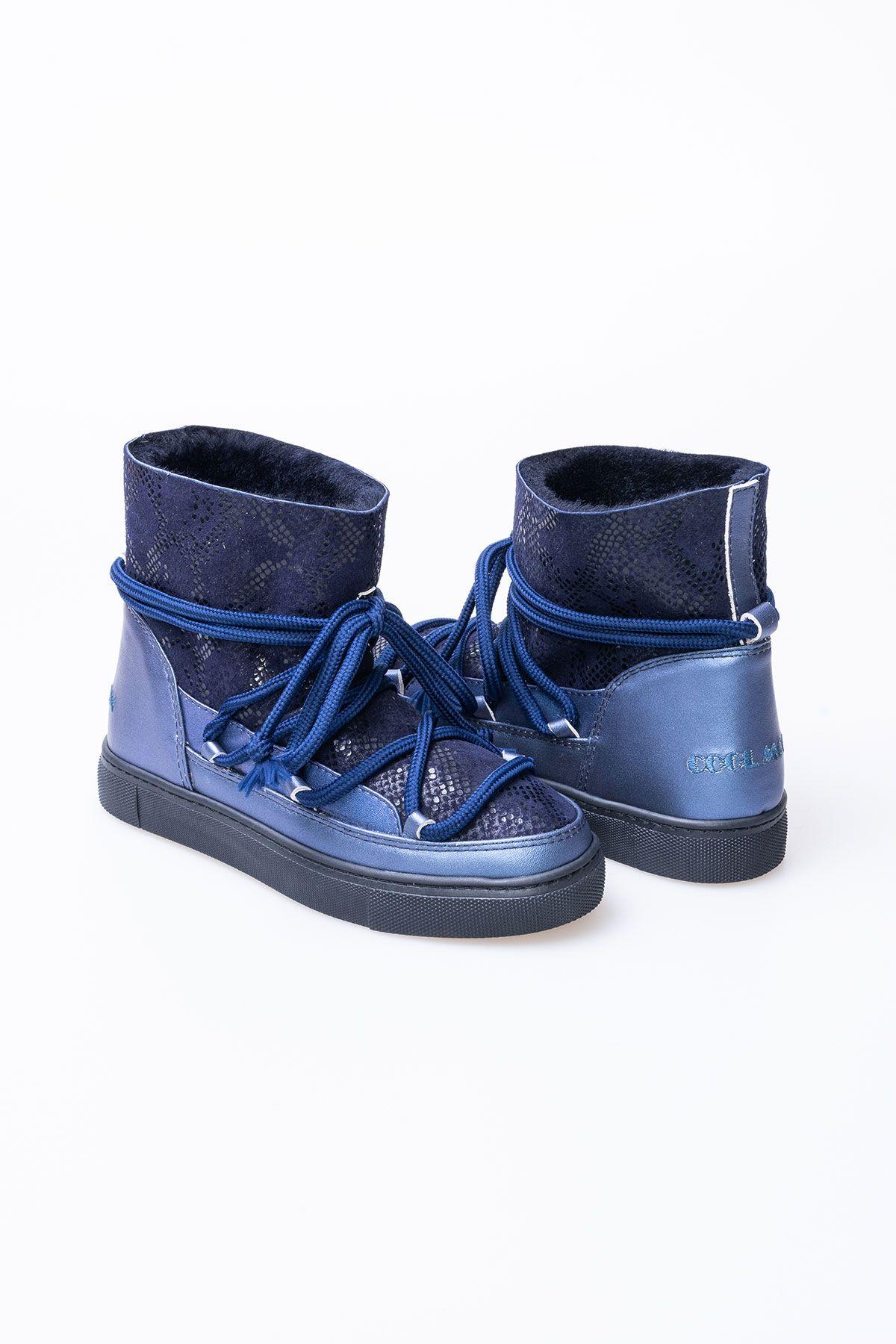 Cool Moon Hakiki Kürk Yılan Desen Bayan Sneaker 355012 Lacivert