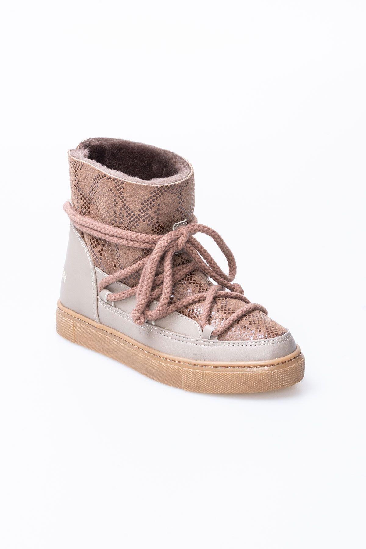 Cool Moon Hakiki Kürk Yılan Desen Bayan Sneaker 355012 Bej