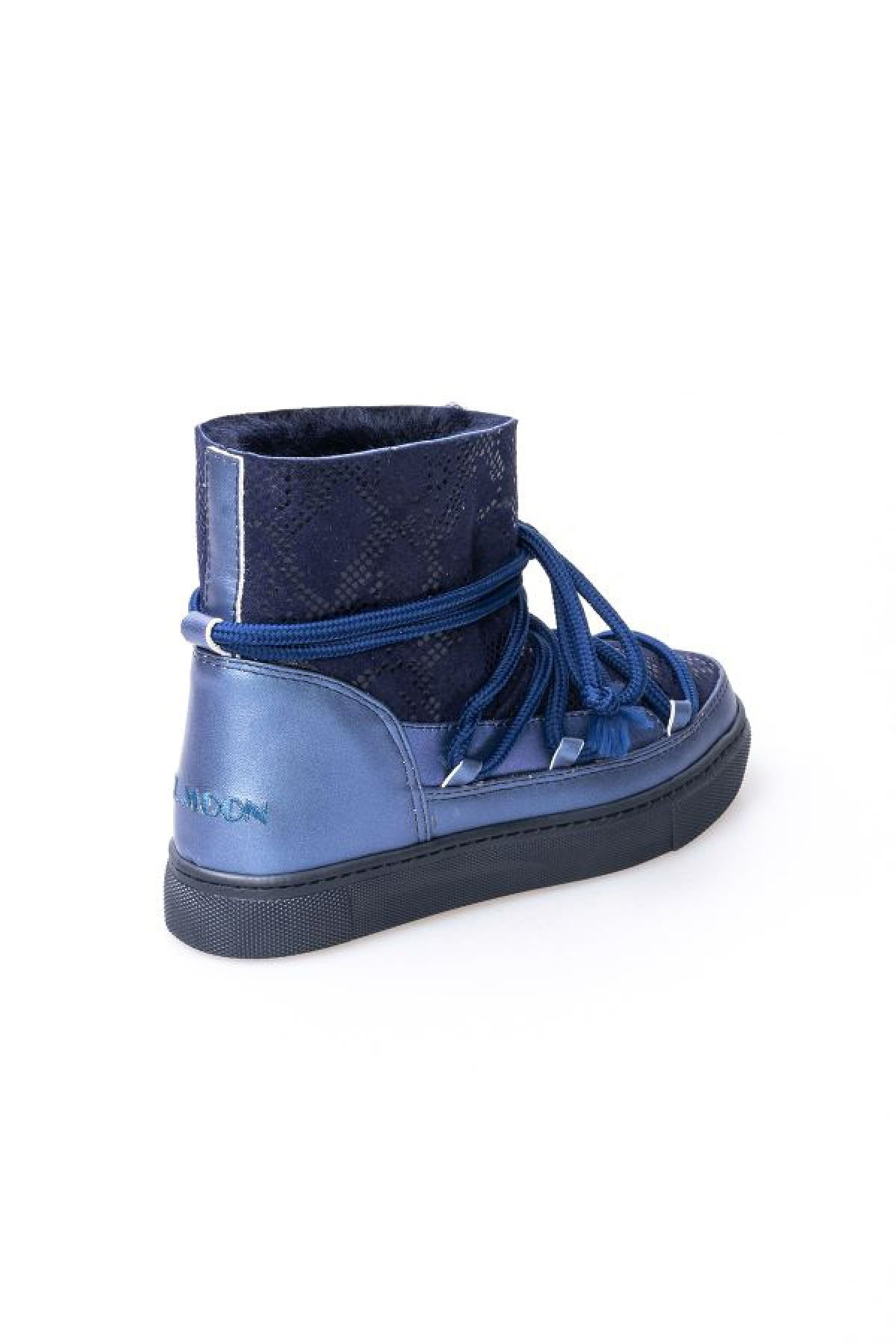 Cool Moon Genuine Shearling Women's Sneakers With Snake Pattern 355012 Navy blue