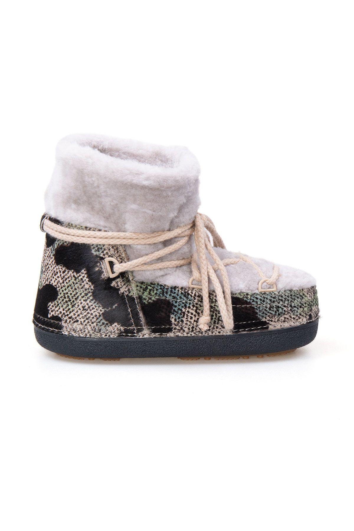 Cool Moon Genuine Sheepskin Women's Snow Boots 251210 Beige