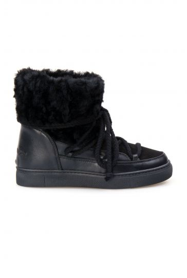 Cool Moon Genuine Sheepskin Women's Sneakers 355059 Black