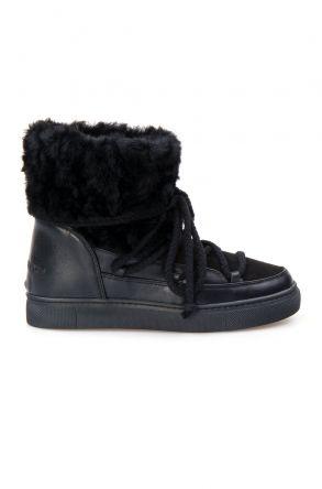 Cool Moon Hakiki Kürklü Kadın Sneakers 355059 Siyah