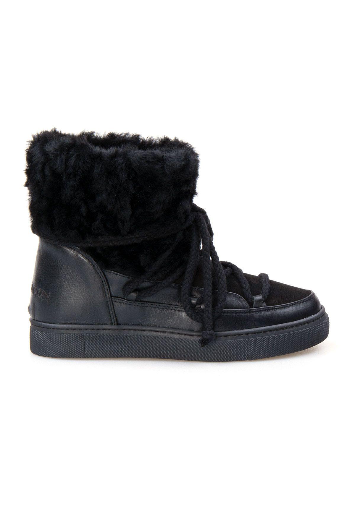 Cool Moon Genuine Sheepskin Women's Sneakers 355059 Black