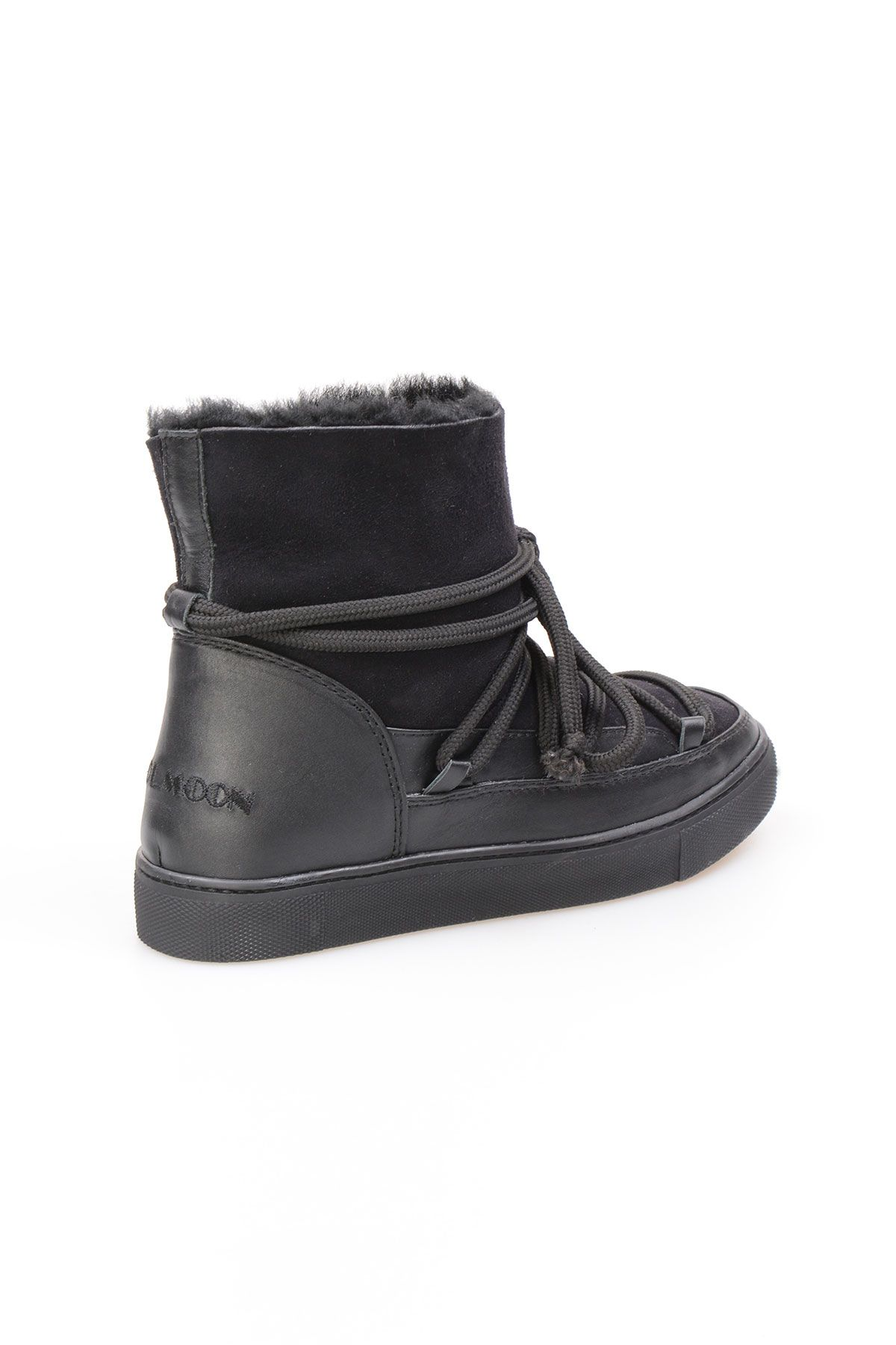 Cool Moon Genuine Suede Shearling Lined Women's Sneaker 355050 Black