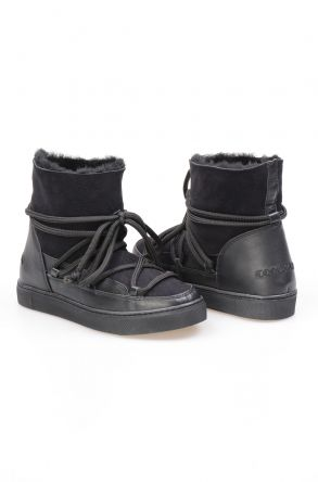 Cool Moon Hakiki Süet İçi Kürk Bayan Sneaker 355050 Siyah
