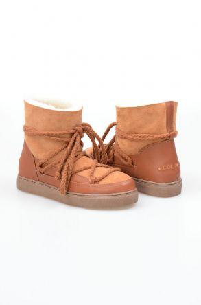 Cool Moon Hakiki İçi Kürk Bayan Sneaker 355050 Taba