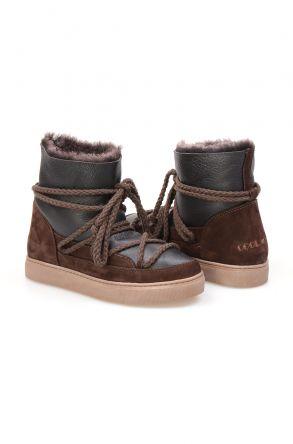 Cool Moon Hakiki Süet İçi Kürk Bayan Sneaker 355050 Kahve
