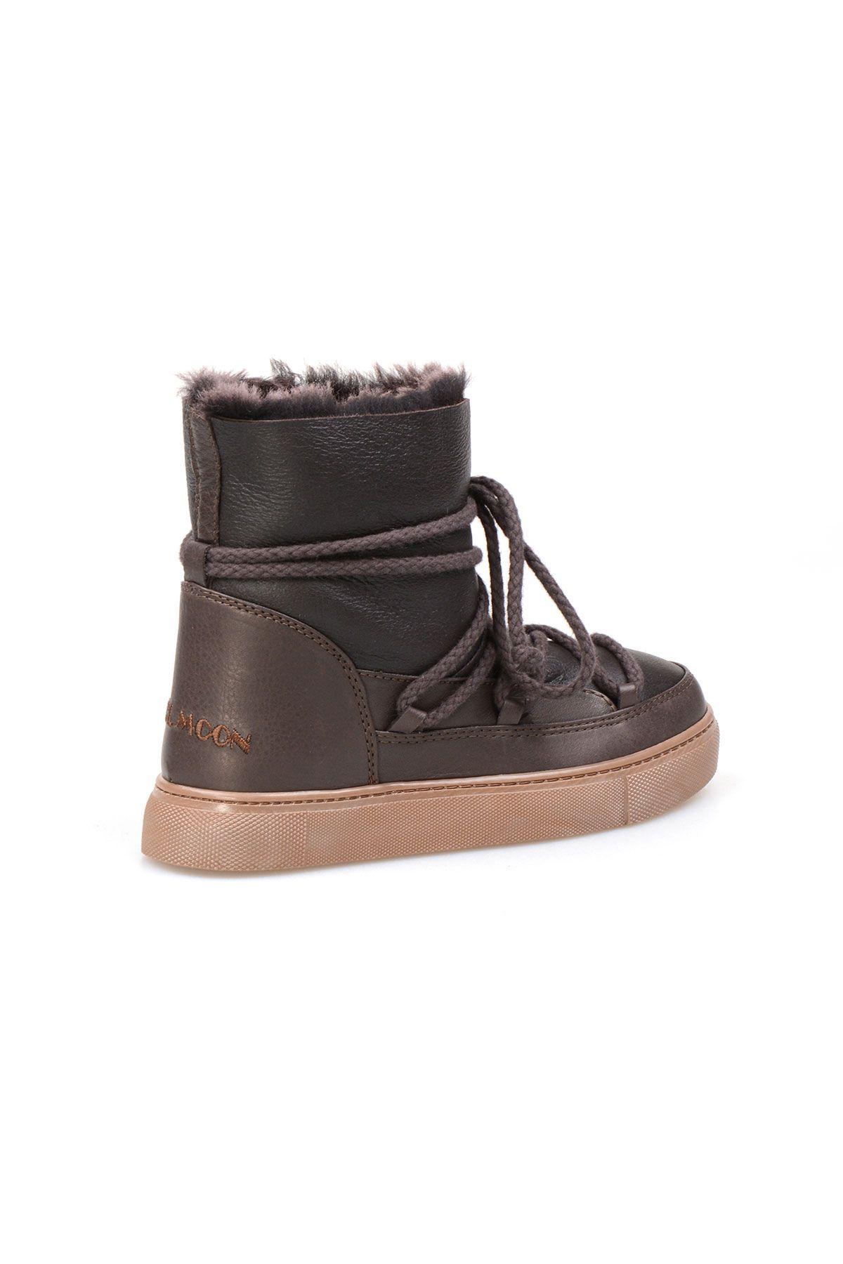 Cool Moon Genuine Suede Shearling Lined Women's Sneaker 355050 Brown
