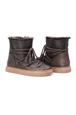 Cool Moon Genuine Suede Shearling Lined Women's Sneaker 355050 Brown